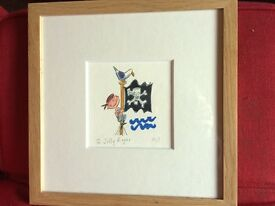 Clinton Banbury Jolly Roger pirate print - ideal for a young boys room. Framed in light oak.