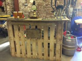 Handmade pallet bar, reclaimed oak top