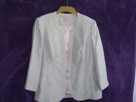 Ladies jacques vert shantung jacket silver grey with pink lining and edging size 12