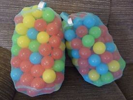 2 Bags of Chad Valley Multi-Coloured Play Balls (ball pit) - approx. 100 in each bag