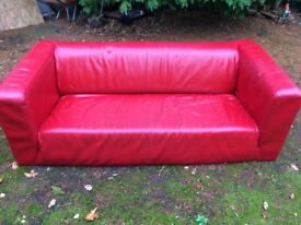 Red Leatherette Sofa
