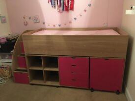 Children's. Cabin bed/mid sleeper, drawers, desk and shelves