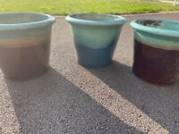 3 glazed large garden pots planters