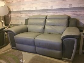 Two seater recliner leather sofa x2