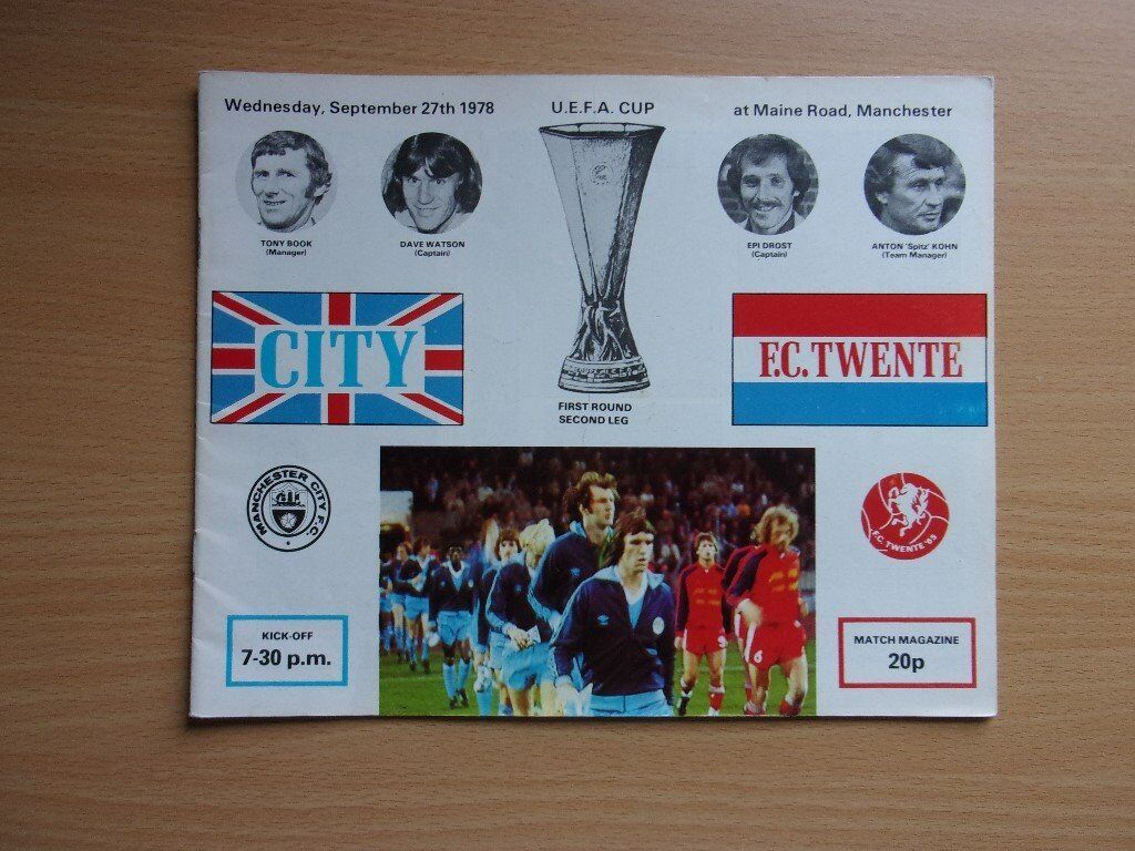 MANCHESTER CITY VS. F.C. TWENTE. 1978 UEFA CUP. FIRST ROUND. SECOND LEG. VERY GOOD CONDITION.
