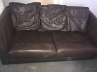 FREE Brown Leather Sofa bed & armchair