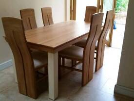 Oak Furniture Land Country Cottage Natural Oak & Painted 6ft Dining Table & 6 Chairs
