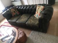 Stunning vintage green leather chesterfield 3 seater sofa
