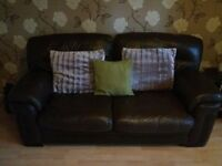 Brown leather 2 seater sofa and armchair