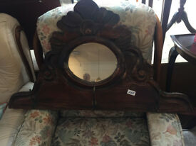 Wooden mirror and hooks , with carved wooden detail. feel free to view size W 35 in H 20 in