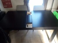 Ikea Black Extendable Dinning Table with 4 x Chairs