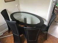 Glass Dinning Table + 4 Chairs