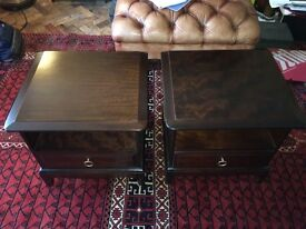 Classic Stag Minstral Pair of Bed Side Cabinets in Mahogany