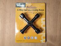 Rolson 4-way Service Utility Keys For Radiator Bleeding