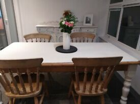 Solid pine table & 4 chairs