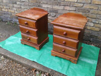 PAIR BEDSIDE CABINET / TABLE PINE with 3 Drawer FREE LOCAL DELIVERY