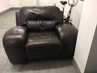 Brown real leather armchair. Excellent condition £40