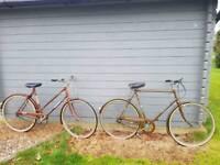 Pair Vintage Raleigh bikes