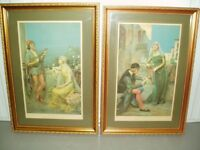 Vintage 1920's Framed A. H. Collings Prints ~ Harmony & Romance from original paintings by Collings