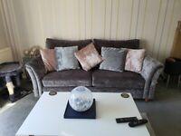 Beautiful Next crushed velvet sofa grey