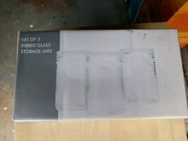 Ribbed Glass Storage Containers boxed never been used