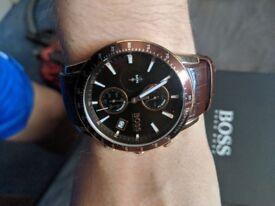 Hugo boss crocodile leathered watch