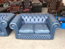 Quality blue leather chesterfield 2 seater sofa UK delivery