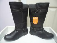 Womens Ladies Black Faux Leather Low Block Heel Mid Calf Boots Size UK 4,5 New