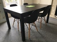 IKEA BJURSTA extendable table with 4 chairs (black)