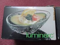 16 retro avocado dishes. In original boxes. Made in France and Italy.