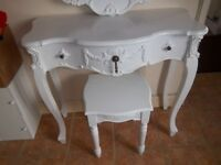 WHITE DRESSING TABLE MIRROR STOOL ORANTE FRENCH STYLE