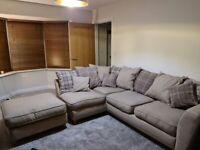 L-shaped sofa, with arm chair and pouffe