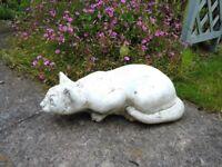 GARDEN ORNAMENT PROWLING WHITE CAT, COMPOSITE STONE,