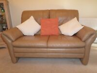 SOFA - 2-seater in soft leather (colour: camel)