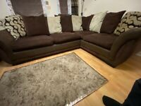 Large corner sofa - scatter cushions with storage ottoman