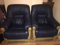 Pair of Blue Leather chairs