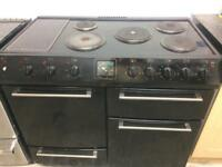 Black 100cm electric cooker grill & double fan assisted ovens with guarantee