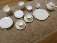 Duchess ascot fine bone china white with gilt edging tea set and side plates and serving plate