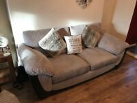 3 seater grey/black suede sofa, and a snuggle chair to match with foot stool