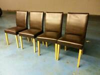 4 X brown leather dining table chairs ( item 2 )