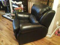 Black leather armchair recliner,rocker