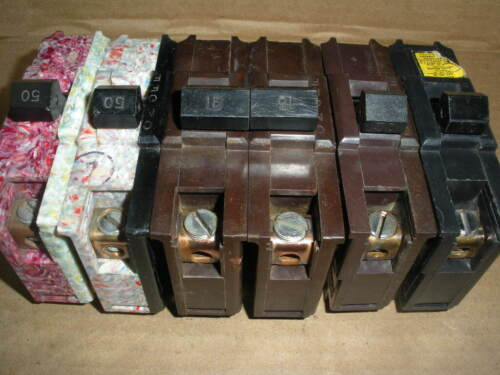 5 Federal Electric circuit breakers 2) CH-50, 1) CH-30, 1) CH-20, 1) CH-215
