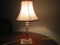 Table lamp, light pink shade, from smoke and pet free home, � 5