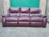 SALE! Leather reclining 3 seater oxblood settee sofa in very good condition / free delivery