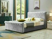 🔵💖🔴furniture for you🔵💖🔴KING SIZE PLUSH VELVET SLEIGH OTTOMAN STORAGE BED FRAME w OPT MATTRESS