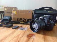Nikon D5200 DSLR camera with Nikon AF-S DX Nikkor 35mm F1.8G Lens & Extras