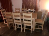 Solid oak extendable dining table Eight chairs and dresser