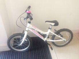 Ridgeback Melody Girls Bike 16'' white with pink details 3-6yrs old