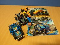 3x LEGO cars with pullback and inertia motors, 100% complete