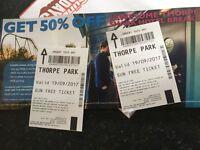 2 Thorpe Park Tickets 19/09/2017